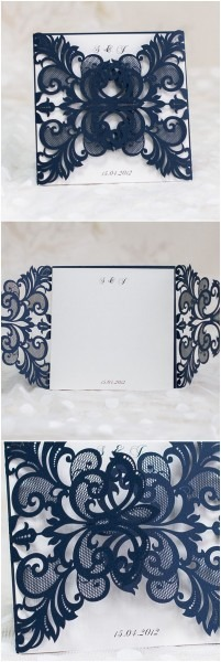 Navy Blue Laser Cut Pocket Wedding Invitations Ewws032 As Low As