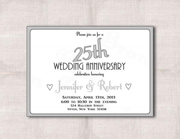 25th Wedding Anniversary Invitation Cards Silver Wedding