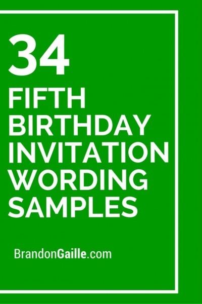34 Fifth Birthday Invitation Wording Samples