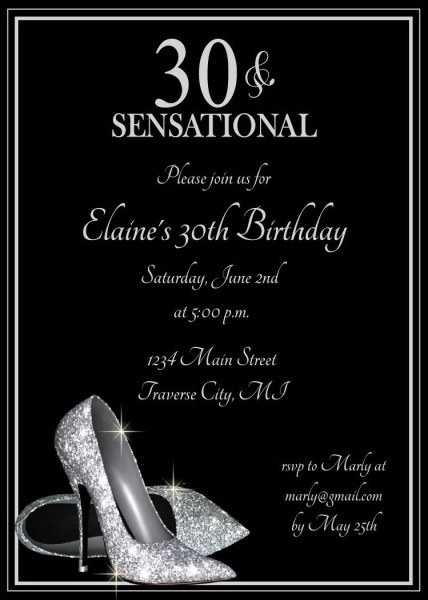 Silver Glitter Shoes Birthday Party Invitations