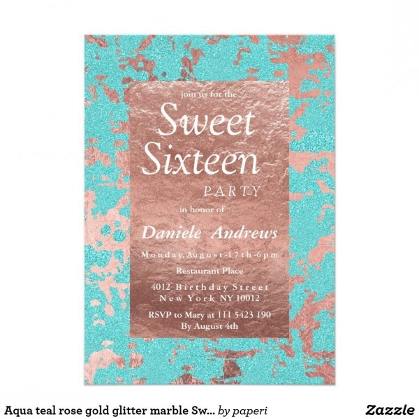 Aqua Teal Rose Gold Glitter Marble Sweet 16 Invitation