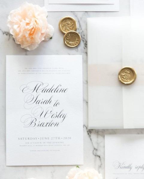 Madeline Vellum Wedding Invitation In 2019