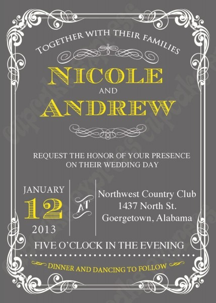 Diy Wedding Grey Yellow Printable Invitation 5x7 Wedding, Baby