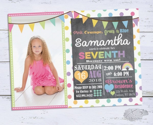 Rainbow Birthday Invitations, Girl Birthday Invitation, Chalkboard