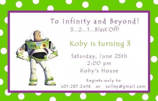 Cute Wording For Buzz Lightyear Invite