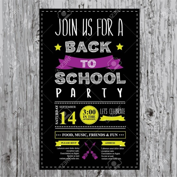 Back To School Party Invitation Design Template Royalty Free