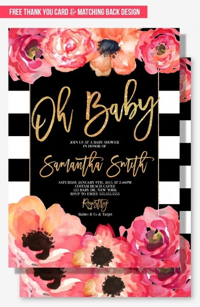 Glamorous Baby Shower Invitation For Your Modern Party Theme