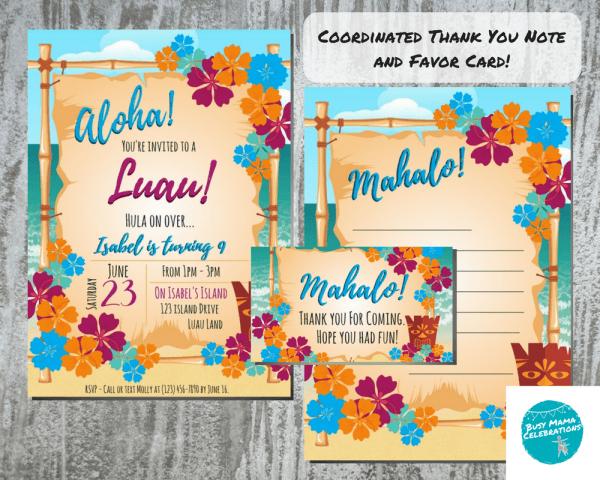 Luau Birthday Party Invitation, Tiki Party Invitation, Hawaii