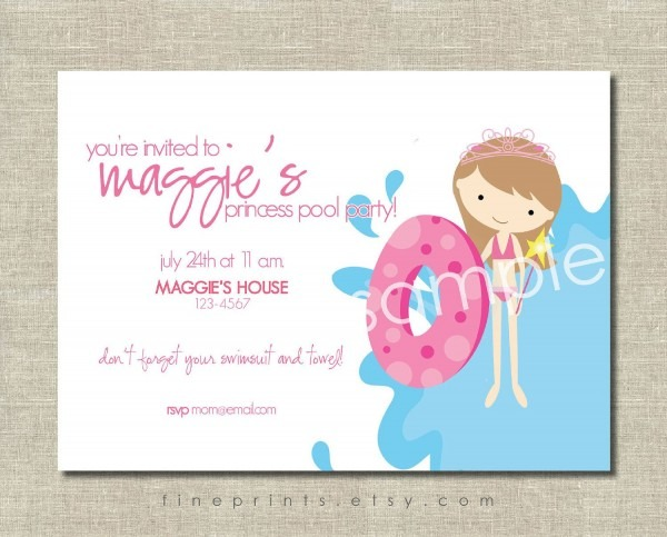 Princess Pool Party Splash Party Invitation So Cute  Could Do The