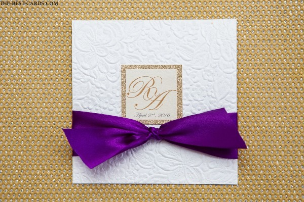 Glitter Wedding Invitation Glam Glitz With Monogram And Ribbon