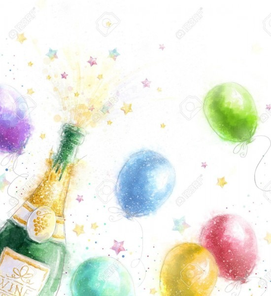 Champagne Party  Celebration Theme With Splashing Champagne