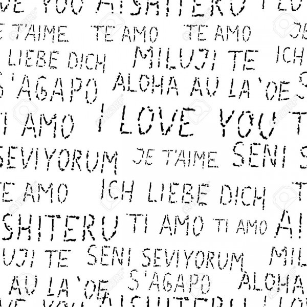 Elegant Seamless Pattern With Hand Drawn I Love You Words In