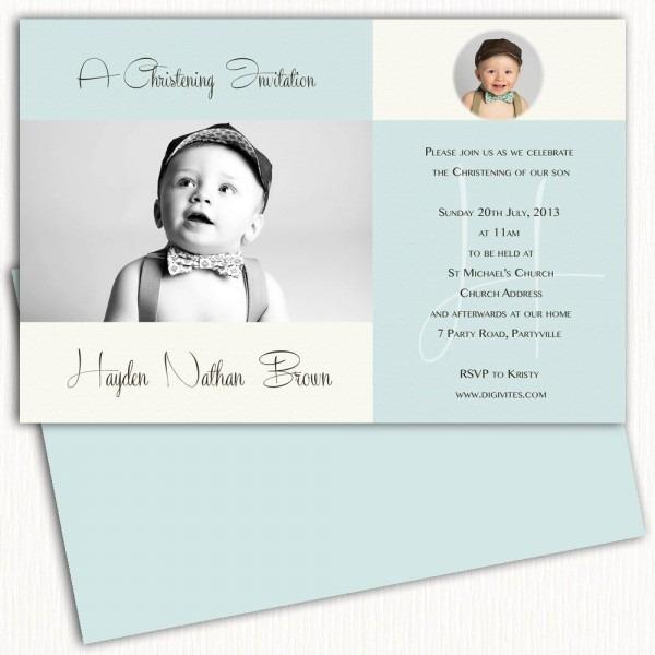 Photo Christening Invitation Boy Baptism Invitation Naming Day