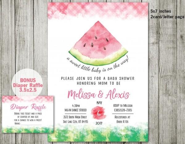 Watermelon Baby Shower Invitation, Watermelon Invitation, Pink