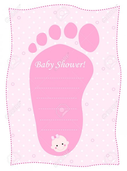 Cute Feet Shaped Baby Shower Invitation Card Template In Pink