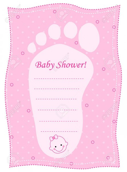 Illustration Of A Pink Baby Shower Invitation With A Footprint