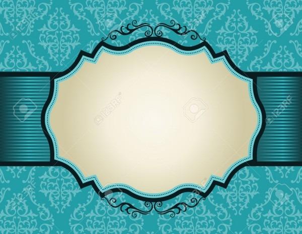 Elegant Damask Pattern Background With Turquoise Ribbon   Perfect