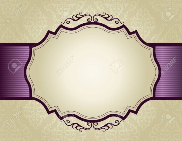 Elegant Gold And Purple Damask Pattern Background With Ribbon