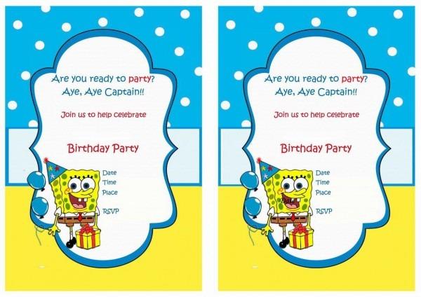 Spongebob Free Printable Birthday Party Invitations