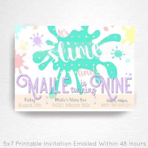 Slime Birthday Party Printable Invitation You Print Pastel Rainbow