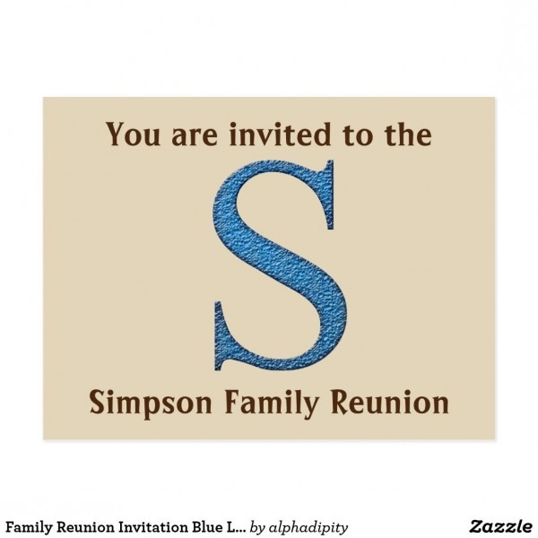 Family Reunion Invitation Blue Letter S Initial Postcard In 2018