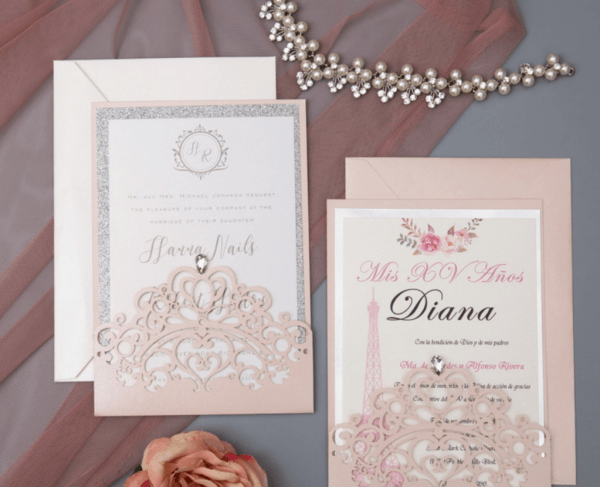 Blush Pink And Silver Quinceanera Invitation Pocket – Lagorce