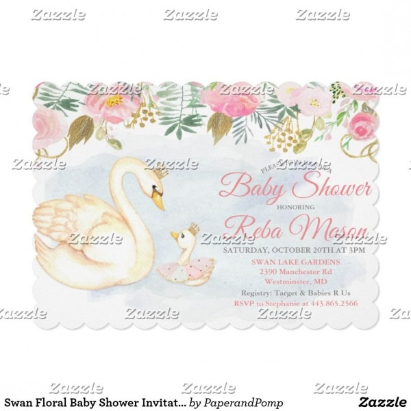 Swan Floral Baby Shower Invitation Swan And Mama Floral Girl Baby