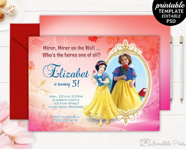 Snow White Girl Birthday Invitation Template  Snow White Party