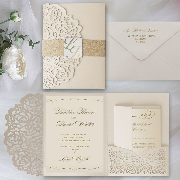 Luxury Laser Cut Wedding Invitations With Gold Glitter Belly Band