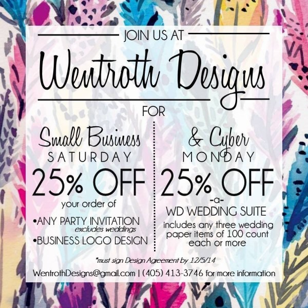 Small Business Saturday And Cyber Monday Specials On Wedding