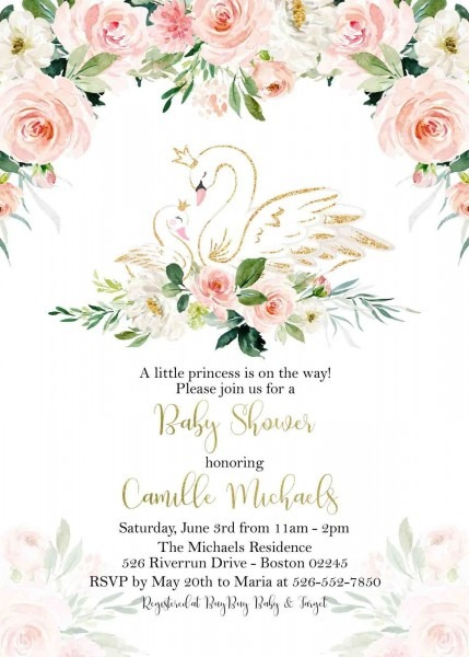 Floral Swan Baby Shower Invitation