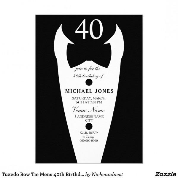 Tuxedo Bow Tie Mens 40th Birthday Party Invite