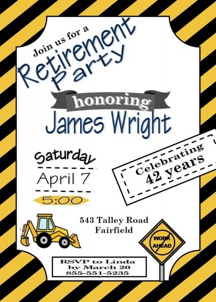 Construction Retirement Party Invitations