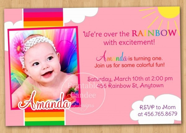 Rainbow First Birthday Invitation Via Etsy