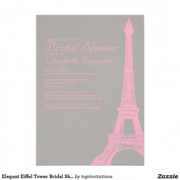 Elegant Eiffel Tower Bridal Shower Invitations