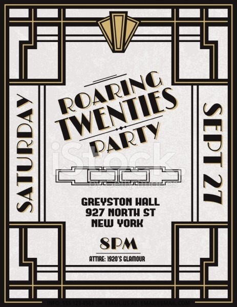 Art Deco Party Invitation Template Stock Vector