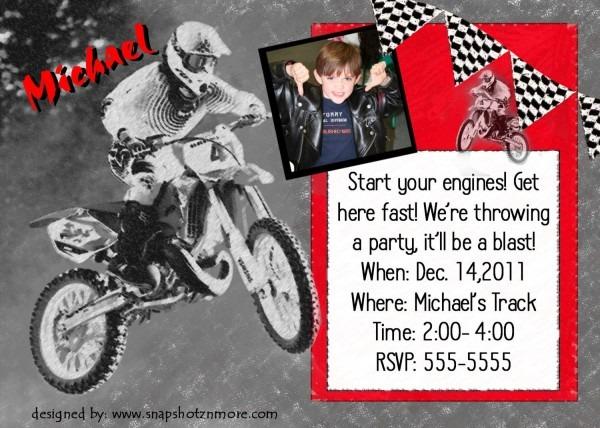 Motocross Birthday Party Invitation Card Personalized Design Boy