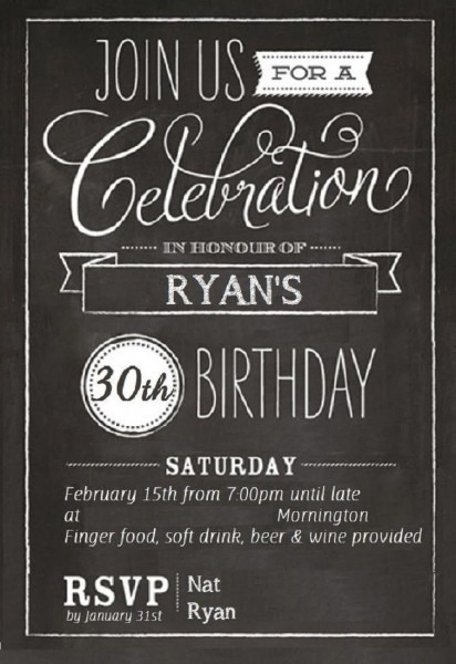 30th Birthday Invitations Templates Free
