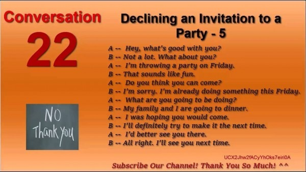 Dialogue Invitation Birthday Party