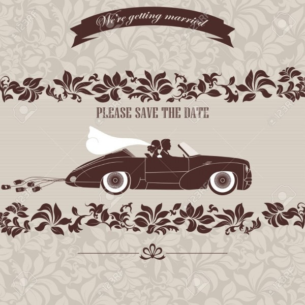 Wedding Invitation, The Bride And Groom In Retro Car On A Floral