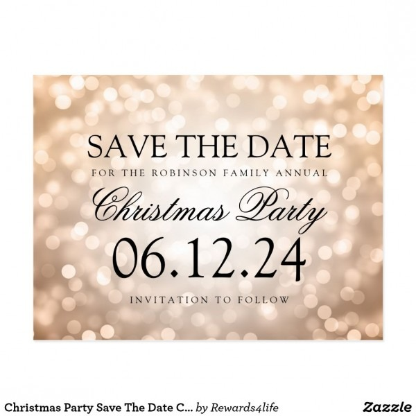 Christmas Party Save The Date Copper Glitter Light Announcement