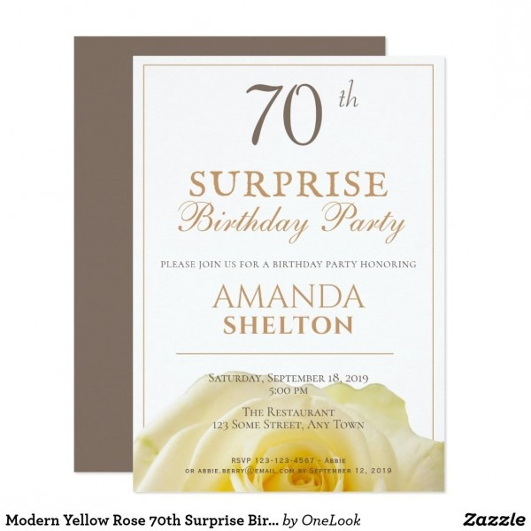 Modern Yellow Rose 70th Surprise Birthday Party Invitation