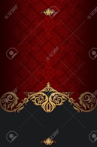 Red And Gold Vintage Background With Old