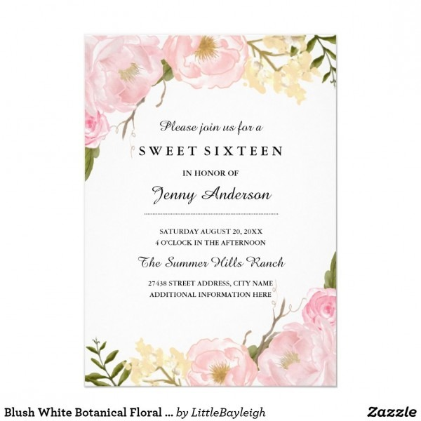 Blush White Botanical Floral Sweet Sixteen Invite