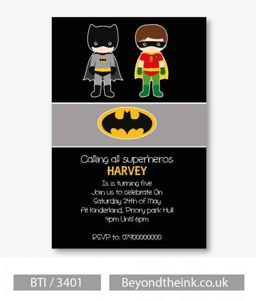 Personalised Batman & Robin Invitations  Printed On Professional