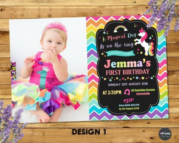 Unicorn Party Invitation 1st First Birthday Invites Rainbow