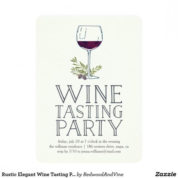 Rustic Elegant Wine Tasting Party Invitation