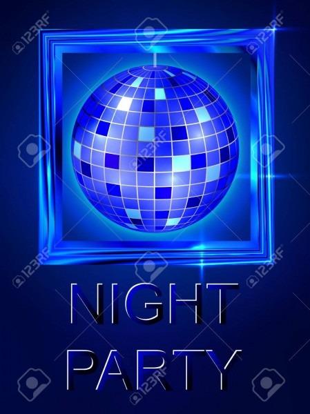 Night Out  Dance Disco  Disco Ball  Bright Blue Shiny Design