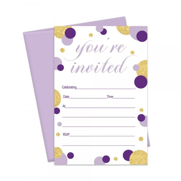 Amazon Com  Purple Party Invitations And Envelopes For Baby