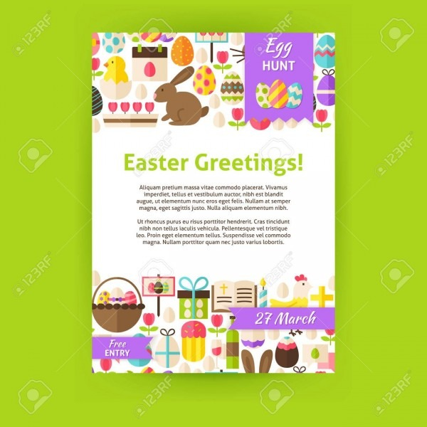 Happy Easter Invitation Template Poster  Flat Design Vector